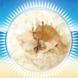 Silver pearl and star fish necklace 16 inch